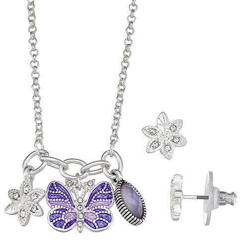 Napier Silver Tone Butterfly Stud Set