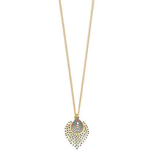 18k Gold Over Silver Multicolored Cubic Zirconia Peacock Pendant Necklace