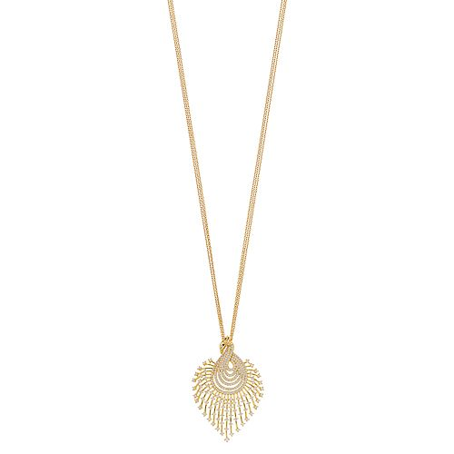 18k Gold Over Silver Cubic Zirconia Peacock Pendant Necklace