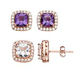 18k Rose Gold Over Silver Amethyst & Lab Created White Sapphire Earring Set