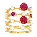 4-Piece 18k Gold Over Silver Lab Created Ruby & CZ Stack Ring Set