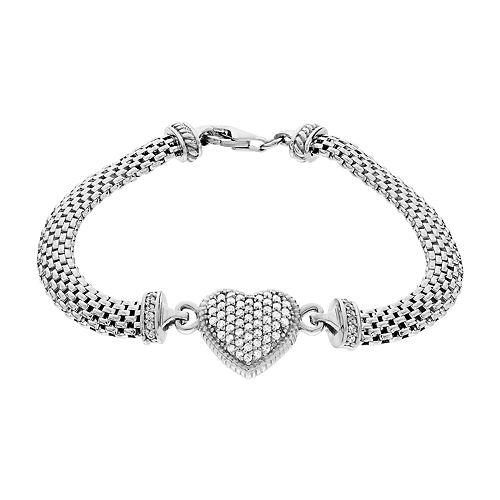 Sterling Silver Cubic Zirconia Mesh Heart Bracelet