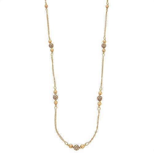 "Napier Gold Toned 42"" Simulated Crystal Strandage Necklace"