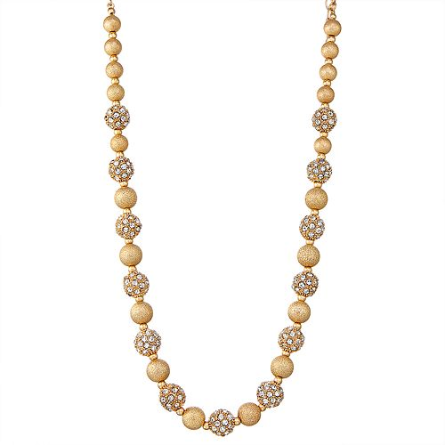 "Napier Gold Toned 16"" Simulated Crystal Collar Necklace"