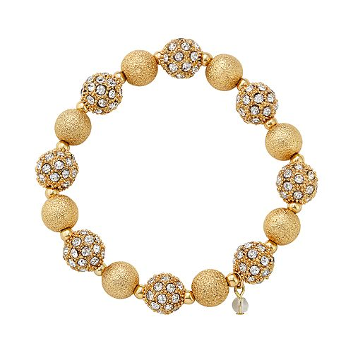 "Napier Gold Toned 2.25"" Simulated Crystal Stretch Bracelet"