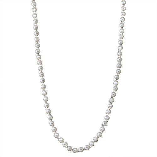 "Napier Silver Tone 42"" Simulated Pearl Strandage Necklace"