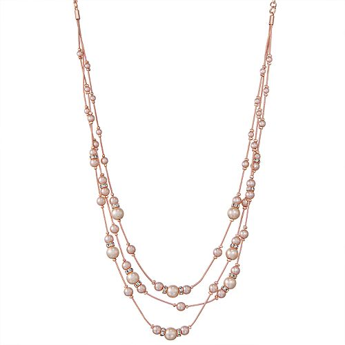 "Napier Rose Gold Tone 16"" Simulated Pearl Illusion Multi-strand Necklace"