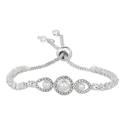 Napier Silver Tone Simulated Crystal And Pearl Slider Bracelet