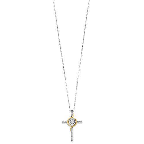 Diamond Facets Diamond Accent Illusion Plate Cross Pendant Necklace
