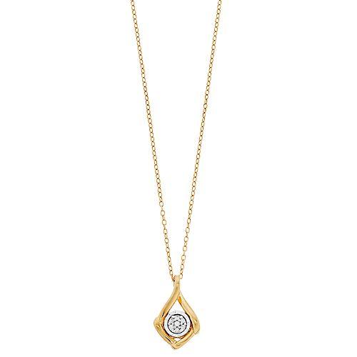 Diamond Facets Diamond Accent Illusion Plate Twist Drop Pendant Necklace