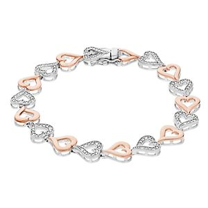 Two Tone Sterling Silver 1/4 Carat T.W. Diamond Heart Link Bracelet