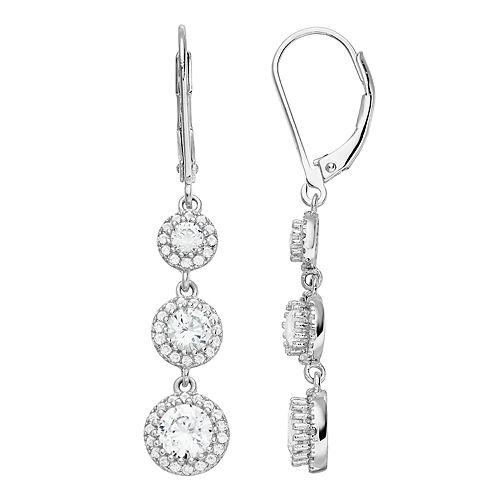 Lab-Created White Sapphire & Diamond Accent Triple Halo Drop Earrings