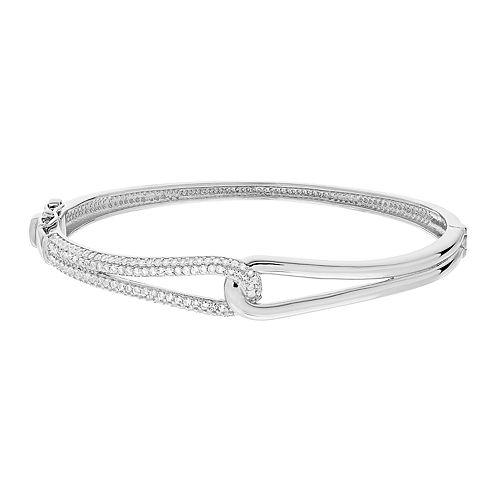Lab-Created White Sapphire & Diamond Accent Interlocked Bangle Bracelet