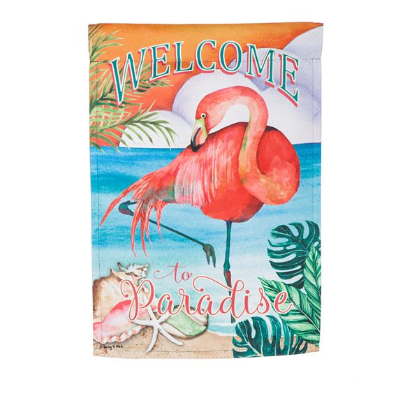 Welcome To Paradise Suede Garden Flag