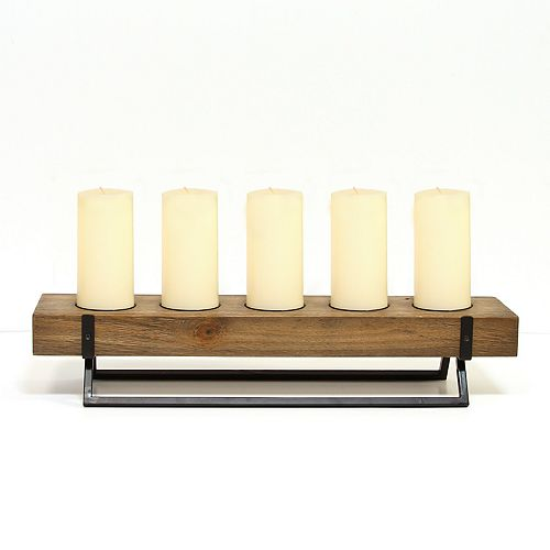 Stratton Home Decor Rustic 5-Opening Candleholder Table Decor