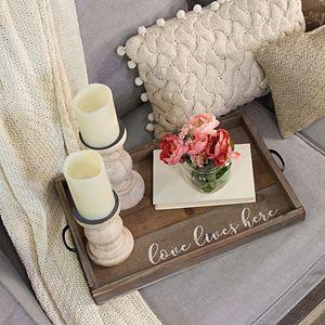 """Stratton Home Decor """"Love Lives Here"""" Decorative Tray Table Decor"""