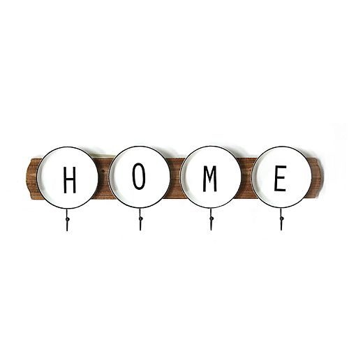 Stratton Home Decor Home Plate 4-Hook Wall Coat Rack