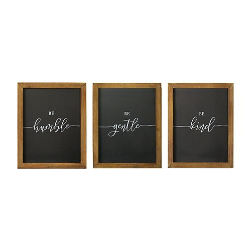 Stratton Home Decor Humble Gentle Kind Wall Decor 3-piece Set
