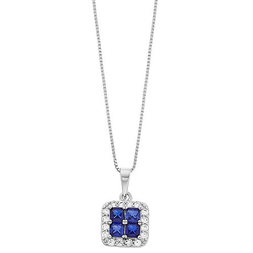 Pure Radiance Sterling Silver Lab-Created Blue & White Sapphire Square Pendant Necklace