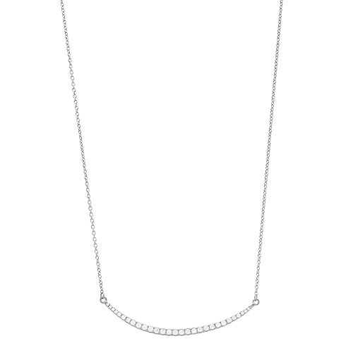 Pure Radiance Sterling Silver Lab-Created White Sapphire & Diamond Accent Necklace