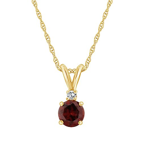 14K Yellow Gold 6mm Round Gemstone & Diamond Accent Pendant Necklace
