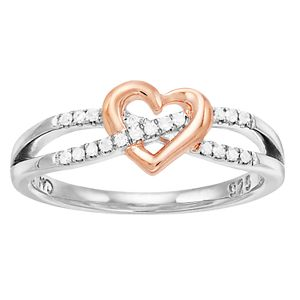 I Promise You Two Tone Sterling Silver 1/10 Carat T.W. Diamond Heart Bypass Ring