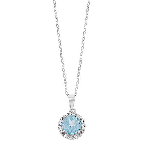 RADIANT GEM Blue Topaz & Lab-Created White Sapphire Halo Pendant Necklace