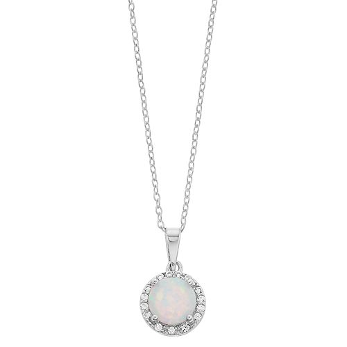 RADIANT GEM Lab-Created White Opal & Lab-Created White Sapphire Halo Pendant Necklace