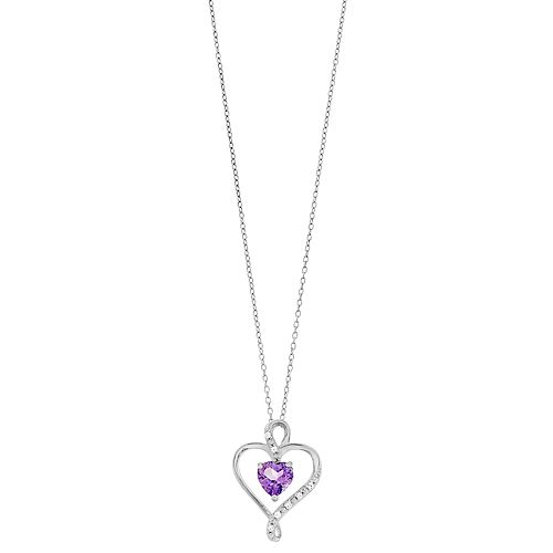 RADIANT GEM Amethyst & Diamond Accent Heart in Heart Pendant Necklace
