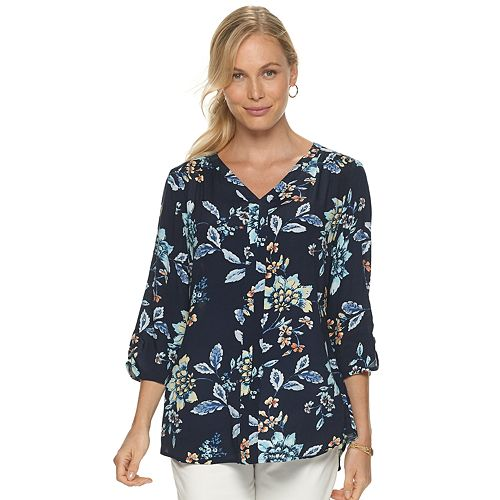 Women's Croft & Barrow 3/4 Sleeve Vneck Blouse