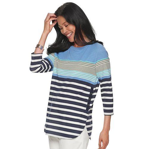 Women's Croft & Barrow® 3/4-Sleeve Side Button Popover