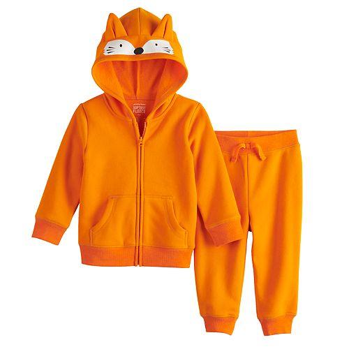 Baby Boy Jumping Beans® Fleece Fox Hoodie & Jogger Pants Set