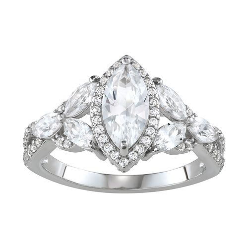 Sterling Silver Lab-Created White Sapphire Marquise Ring