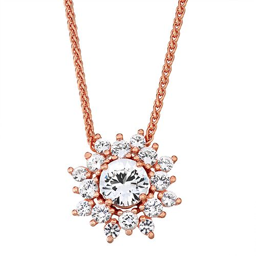 14K Rose Gold over Sterling Silver Lab-Created White Sapphire Adjustable Necklace