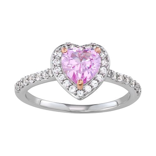 Sterling Silver Lab-Created Pink & White Sapphire Heart Ring