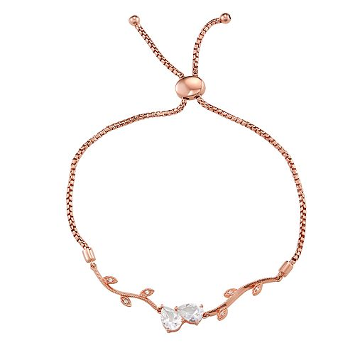 14K Rose Gold over Sterling Silver Lab-Created White Sapphire Leaf Adjustable Bracelet