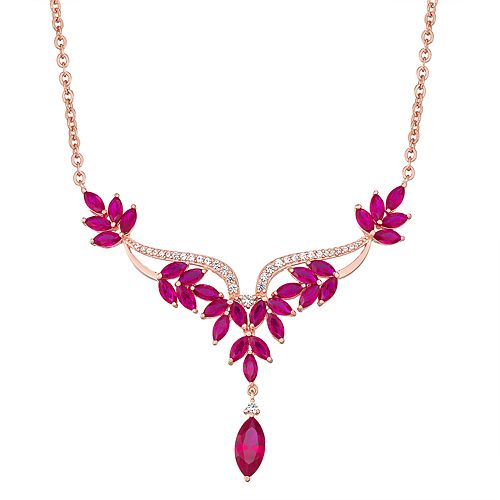 14K Rose Gold over Sterling Silver Lab Created Ruby & White Sapphire Necklace