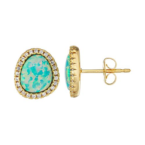 14K Yellow Gold over Sterling Silver Lab Created Opal & White Sapphire Earrings