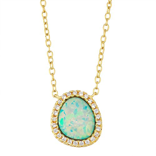 14K Yellow Gold over Sterling Silver Lab Created Opal & White Sapphire Necklace