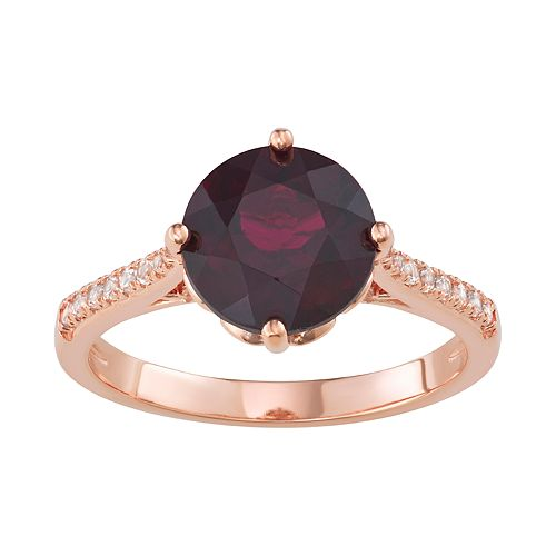 14K Rose Gold over Sterling Silver Rhodolite Garnet with Lab Created White Sapphire Ring