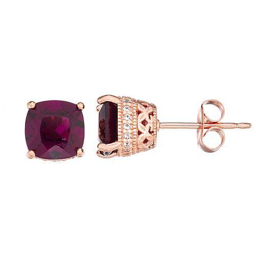 14K Rose Gold over Sterling Silver Rhodolite Garnet & Lab-Created White Sapphire Earrings