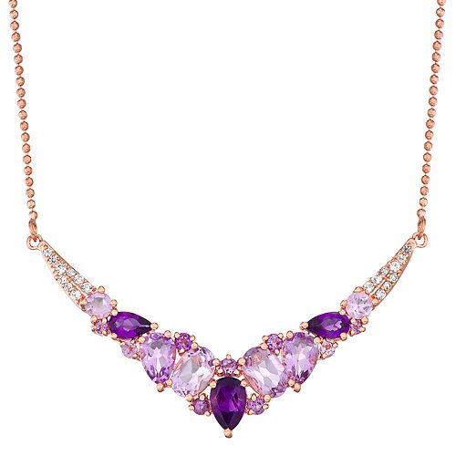 14K Rose Gold over Sterling Silver Genuine Tonal Amethyst & Lab-Created White Sapphire Necklace