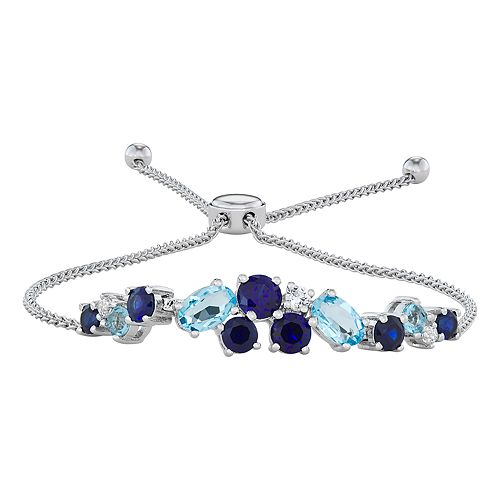 Sterling Silver Lab-Created Blue & White Sapphire & Blue Topaz Adjustable Bracelet