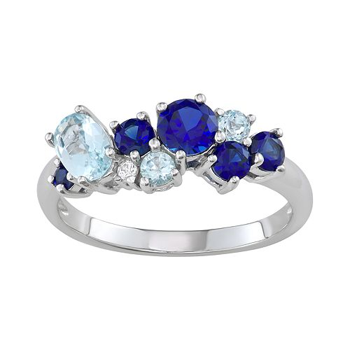 Sterling Silver Lab-Created Blue & White Sapphire & Blue Topaz Ring