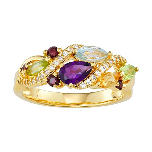 14K Yellow Gold over Sterling Silver Multi Gemstone & Lab-Created White Sapphire Ring