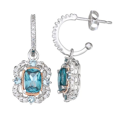 Sterling Silver Two-Tone Lab-Created Blue Spinel & White Sapphire Earrings