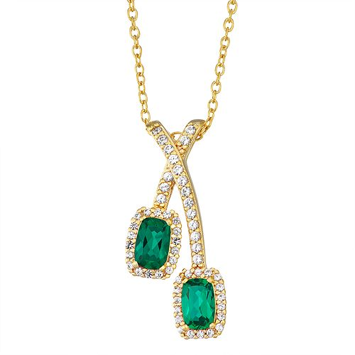 14K Yellow Gold over Sterling Silver Lab-Created Emerald & White Sapphire Pendant Necklace