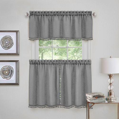 Achim Wallace Window Kitchen Curtain Tier Pair & Valance Set