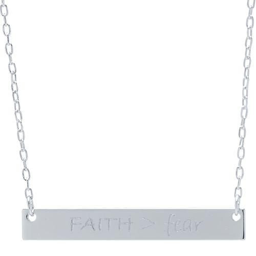 "Sterling Silver ""Faith>Fear"" Bar Necklace"