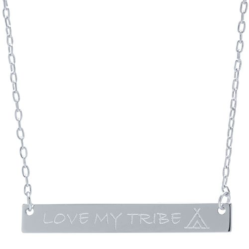 """Sterling Silver """"Love My Tribe"""" Bar Necklace"""